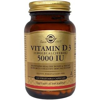 Solgar, ビタミンD3(コレカルシフェロール)、5000IU、ベジキャップ120錠