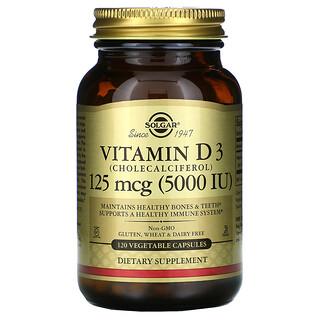 Solgar, 維生素 D3(膽鈣化醇),125 微克(5000 國際單位),120 粒素食膠囊