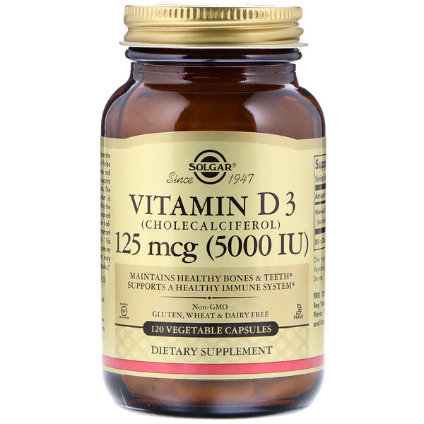 Vitamin D3 (Cholecalciferol), 125 mcg (5000 IU), 120 Vegetable Capsules