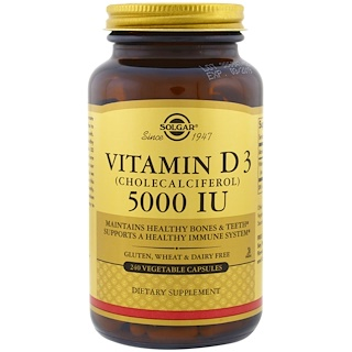 Solgar, Vitamin D3 (Cholecalciferol), 5000 IU, 240 Vegetable Capsules