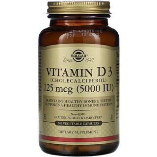Solgar, 維生素 D3(膽鈣化醇),125 微克(5,000 國際單位),240 粒蔬菜膠囊