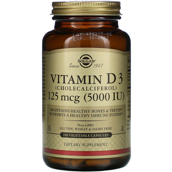 Vitamin D3 (Cholecalciferol), 125 mcg (5,000 IU), 240 Vegetable Capsules