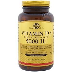 Solgar, Витамин D3 (холекальциферол), 5000 МЕ, 240 капсул в растительной оболочке