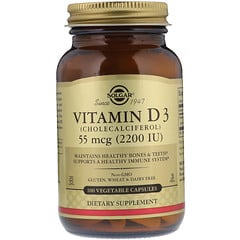 Solgar, Natural Vitamin D3, 55 mcg (2,200 IU), 100 Vegetable Capsules