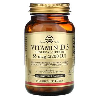 Solgar, 維生素 D3(膽鈣化醇),55 微克(2,200 國際單位),100 粒蔬菜膠囊