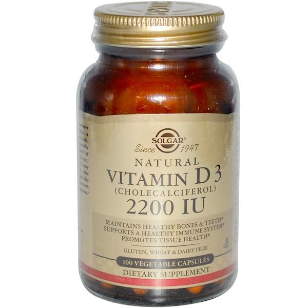 Solgar, Vitamin D3 (Cholecalciferol), 2200 IU, 100 Vegetable Capsules
