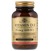 Vitamin D3 (Cholecalciferol), 15 mcg (600 IU), 120 Vegetable Capsules - фото