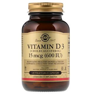 Solgar, 天然ビタミン D3, 600 IU, 120 ベジタブルカプセル