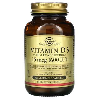 Solgar, 維生素 D3(膽鈣化醇),15 微克(600 國際單位),120 粒素食膠囊