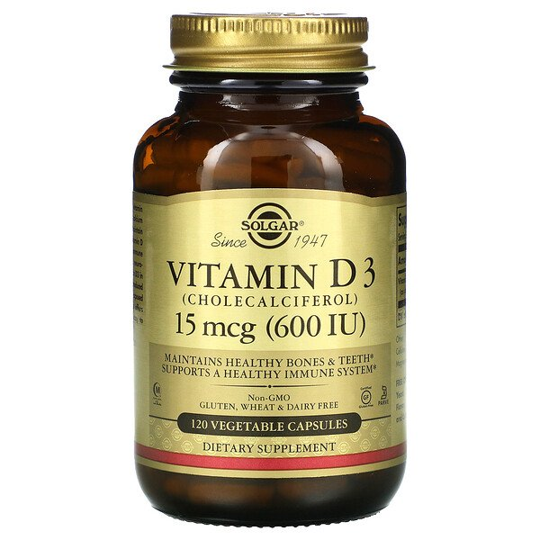 Solgar, Vitamin D3 (Cholecalciferol), 15 mcg (600 IU), 120 Vegetable Capsules