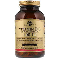 Solgar, Vitamin D3 (Cholecalciferol), 400 IU, 250 Softgels