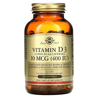 Solgar, Vitamin D3, 10 mcg (400 IU), 250 Softgels
