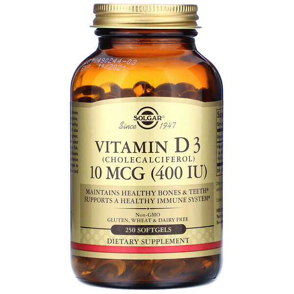 Solgar, Vitamin D3, 10 mcg (400 IU), 250 Softgels