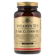 Solgar, 題那讓維生素D3/膽鈣化固醇軟膠囊,1000IU,250粒