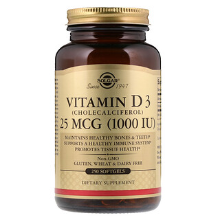 Solgar, 비타민 D3(콜레칼시페롤), 1000 IU, 250 소프트젤