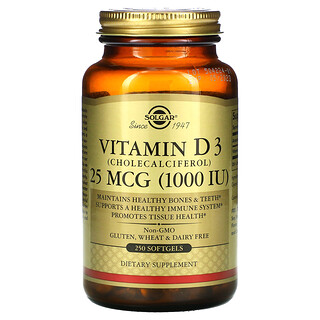 Solgar, Vitamin D3 (Cholecalciferol), 25 mcg (1,000 IU), 250 Softgels