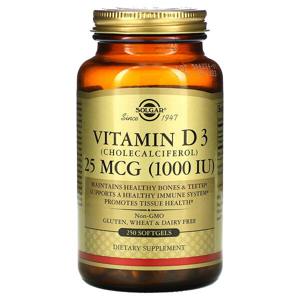 Vitamin D3 (Cholecalciferol), 25 mcg (1,000 IU), 250 Softgels