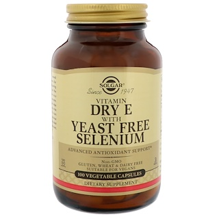 Solgar, Natural Dry E with Yeast Free Selenium, 100 Vegetable Capsules