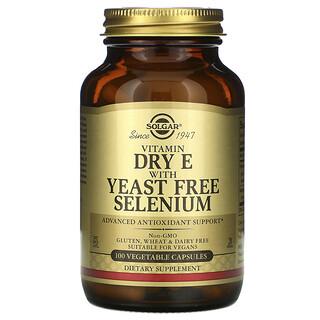 Solgar, 乾燥維生素 E 素食膠囊,含零酵母硒,100 粒裝