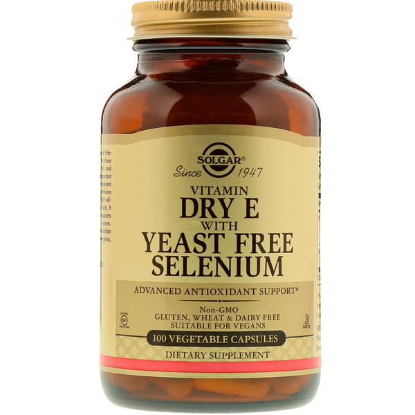 Vitamin Dry E with Yeast Free Selenium, 100 Vegetable Capsules