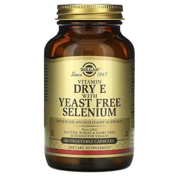 Solgar, Vitamin Dry E with Yeast Free Selenium, 100 Vegetable Capsules