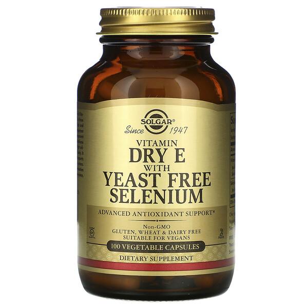 Solgar, ビタミンドライE、酵母不使用セレン、植物性カプセル100個