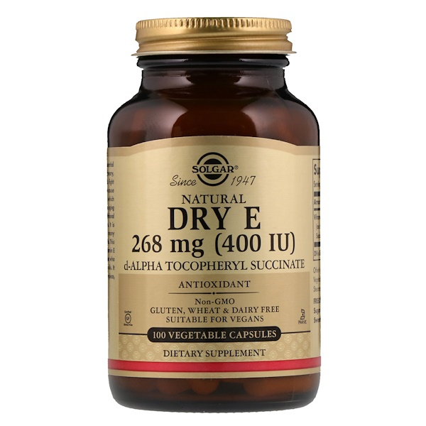 Solgar, Natural Dry E, 268 mg (400 IU), 100 Vegetable Capsules (Discontinued Item)