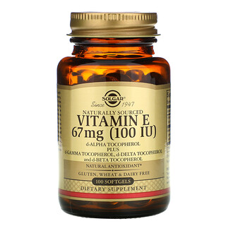 Solgar, Naturally Sourced Vitamin E, 67 mg (100 IU), 100 Softgels