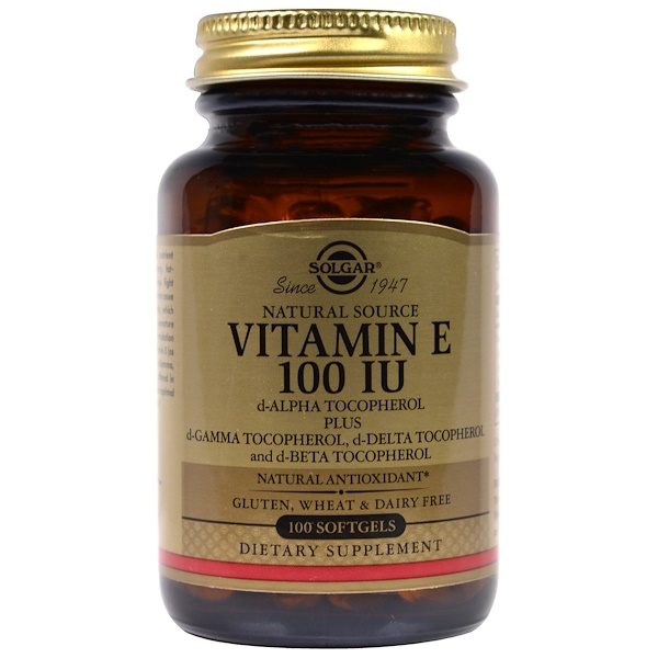 Solgar, Natural Vitamin E, 100 IU, d-Alpha Tocopherol & Mixed Tocopherols, 100 Softgels