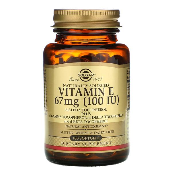 Solgar, Натуральный витаминЕ, 67мг (100МЕ), 100мягких таблеток