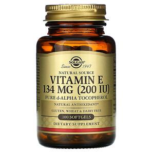Солгар, Natural Source Vitamin E, 200 IU, 100 Softgels отзывы покупателей
