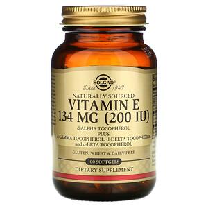 Солгар, Naturally Sourced Vitamin E, 134 mg (200 IU), 100 Softgels отзывы покупателей