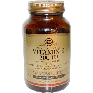 Solgar, Natural Vitamin E, 200 IU, d-Alpha Tocopherol & Mixed Tocopherols, 100 Vegetarian Softgels
