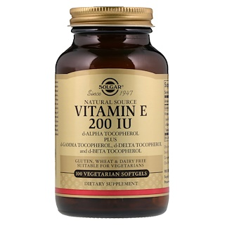 Solgar, Naturally Sourced Vitamin E, 200 IU, 100 Vegetarian Softgels
