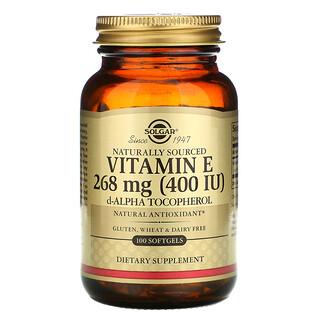 Solgar, VitaminaE, Origen natural, 268mg (400UI), 100cápsulas blandas