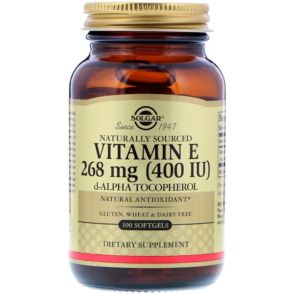 Solgar, 天然ビタミンE、400 IU、100ソフトジェル