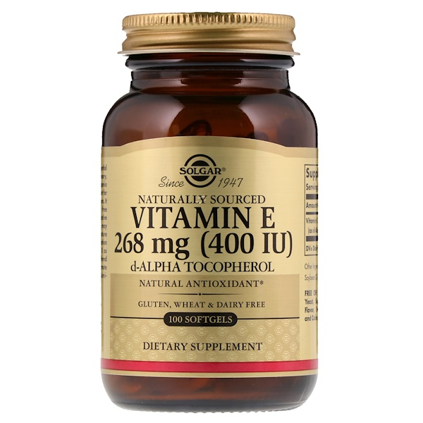 Solgar, Vitamina E de Origem Natural, 268 mg (400 UI), 100 Cápsulas Softgel