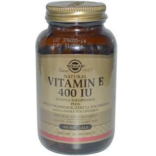 Solgar, Natural Vitamin E, 400 IU, d-Alpha Tocopherol & Mixed Tocopherols 100 Softgels