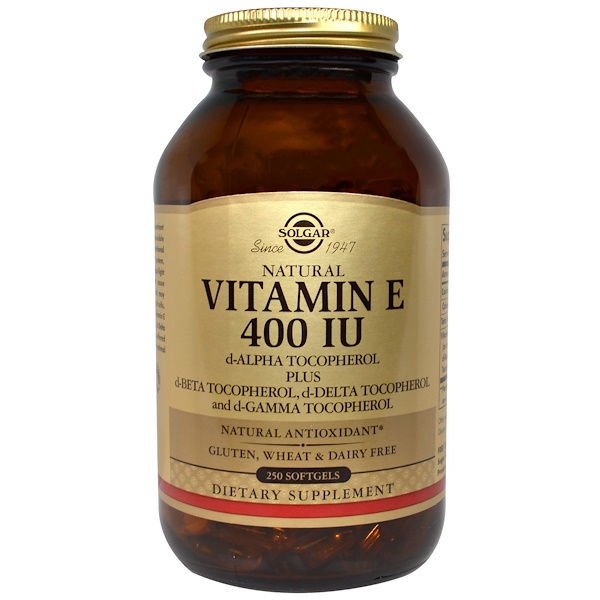 Solgar, Natural Vitamin E, 400 IU, d-Alpha Tocopherol & Mixed Tocopherols 250 Softgels