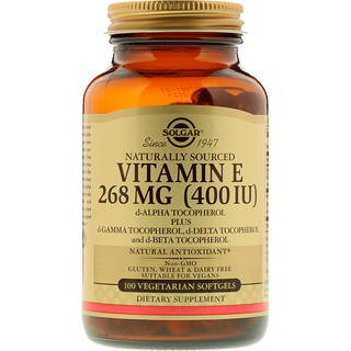 Solgar, Naturally Sourced Vitamin E, 268 mg (400 IU), 100 Vegetarian Softgels