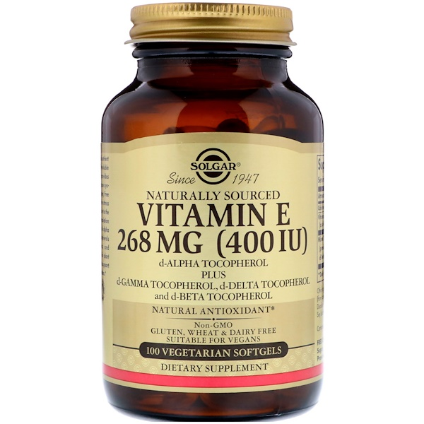 Solgar, Vitamin E, 268 mg (400 IU), 100 Vegetarian Softgels