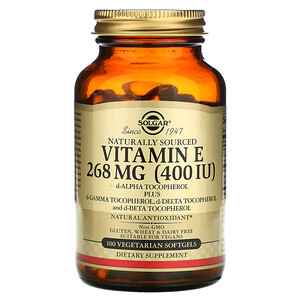 Солгар, Naturally Sourced Vitamin E, 268 mg (400 IU), 100 Vegetarian Softgels отзывы
