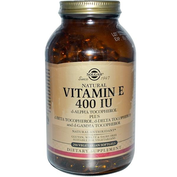 Solgar, Natural Vitamin E, 400 IU, 250 Veggie Softgels (Discontinued Item)