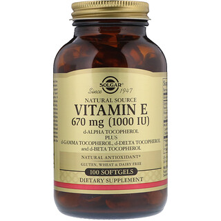 Solgar, Naturally Sourced Vitamin E, 1,000 IU, 100 Softgels