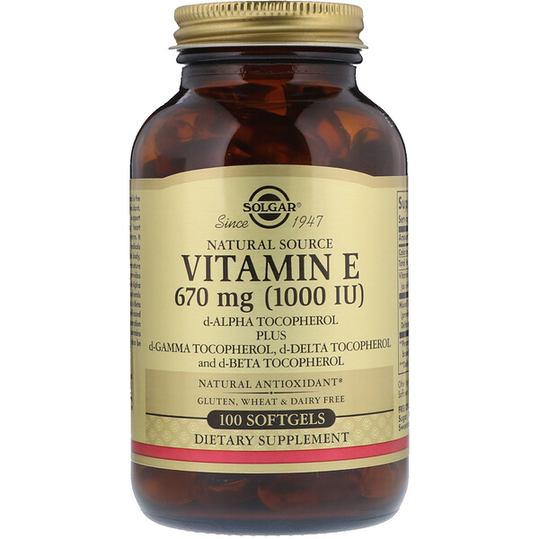 Naturally Sourced Vitamin E, 670 mg (1,000 IU), 100 Softgels