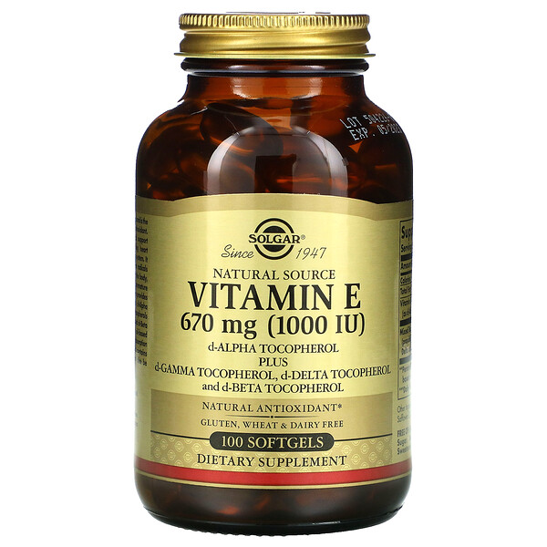 Natural Source Vitamin E, 670 mg (1,000 IU), 100 Softgels