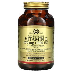 Солгар, Naturally Sourced Vitamin E, 670 mg (1,000 IU), 100 Softgels отзывы
