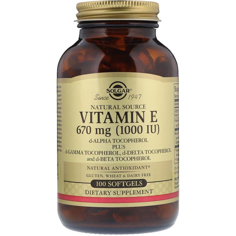 Solgar, Naturally Sourced Vitamin E, 670 mg (1,000 IU), 100 Softgels