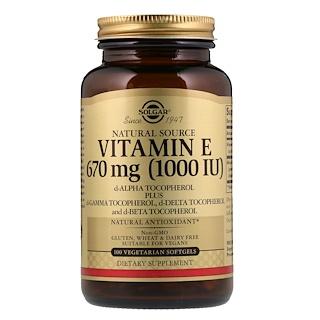 Solgar, Naturally Sourced Vitamin E, 670 mcg (1,000 IU), 100 Vegetarian Softgels
