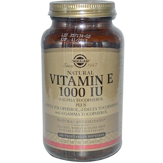 Solgar, Natural Vitamin E, 1000 IU, d-Alpha Tocopherol & Mixed Tocopherols, 100 Vegetarian Softgels
